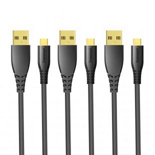 Tronsmart MUC02 Cavo USB Premium con connettore placcato oro (3 cavi Micro USB x1m)